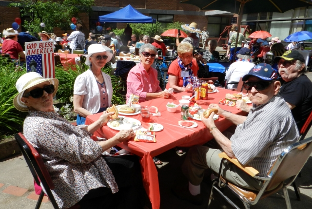 Families and friends come together at our picnics on the patio.