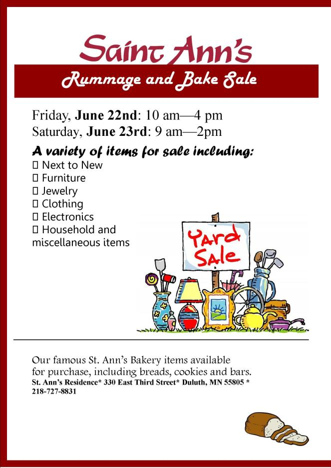 June 2018 Rummage and Bake Sale