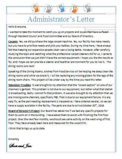 Admin Letter Nov 2019 Website